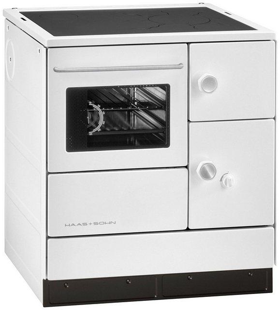 Kamine und Öfen - HAAS SOHN Festbrennstoffherd »HA 75.5«, Stahl weiß, 7,5 kW,DauerbrandBackofen und Kochfeld  - Onlineshop OTTO