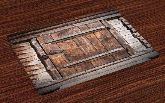 Tischdecke, »Waschbare Stoff Esszimmer Küche Tischdekorations Digitaldruck«, Abakuhaus, (4-teilig, 4 Teilig-St., Set aus 4x), Rustikal Rustikale Holztür