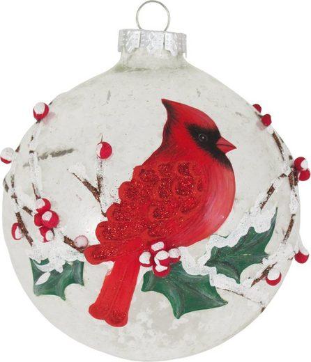 Krebs Glas Lauscha Weihnachtsbaumkugel »CBK50318« (1 Stück), mit Schnee gefüllt und 3D-Kardinal