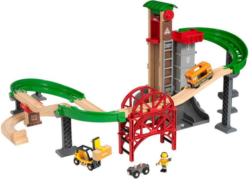 BRIO® Spielzeug-Eisenbahn »BRIO® WORLD Großes Lagerhaus-Set mit Aufzug«, (Set), FSC®-Holz aus gewissenhaft bewirtschafteten Wäldern