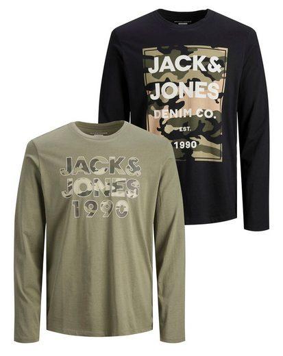 Jack & Jones Junior Langarmshirt »2er Pack JJCAMOMAN TEE LS CREW N« (Packung, 2-tlg., 2er-Pack) mit tarnfarbenem Druck
