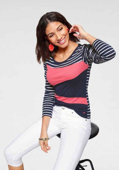 NEU Paola Shirt Langarm Gr 50 gestreift mit Zierknopfleiste 263