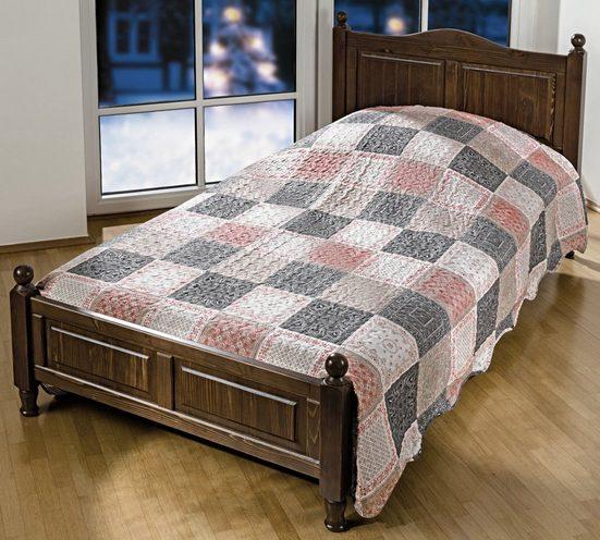 Tagesdecke, dynamic24, Landhaus Bettüberwurf 220x240cm Überwurf Bett Decke Wohndecke Patchwork