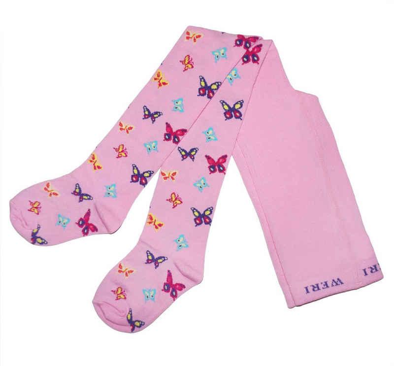 WERI SPEZIALS Strumpfhersteller GmbH Strickstrumpfhose »Kinder Strumpfhosen für Mädchen >>Schmetterling<< mit Baumwolle«