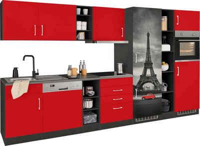 HELD MÖBEL Küchenzeile »Paris«, mit E-Geräten, Breite 350 cm, mit großer Kühl-Gefrierkombination
