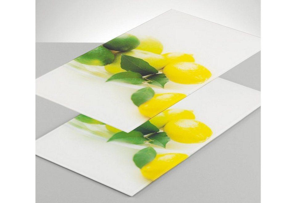 Set: Glasschneideplatten »Zitrone« (2-tlg.), Zeller in gelb