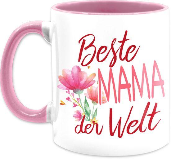 Shirtracer Tasse »Beste Mama der Welt Blumen - Muttertagsgeschenk Tasse - Tasse zweifarbig«, Keramik