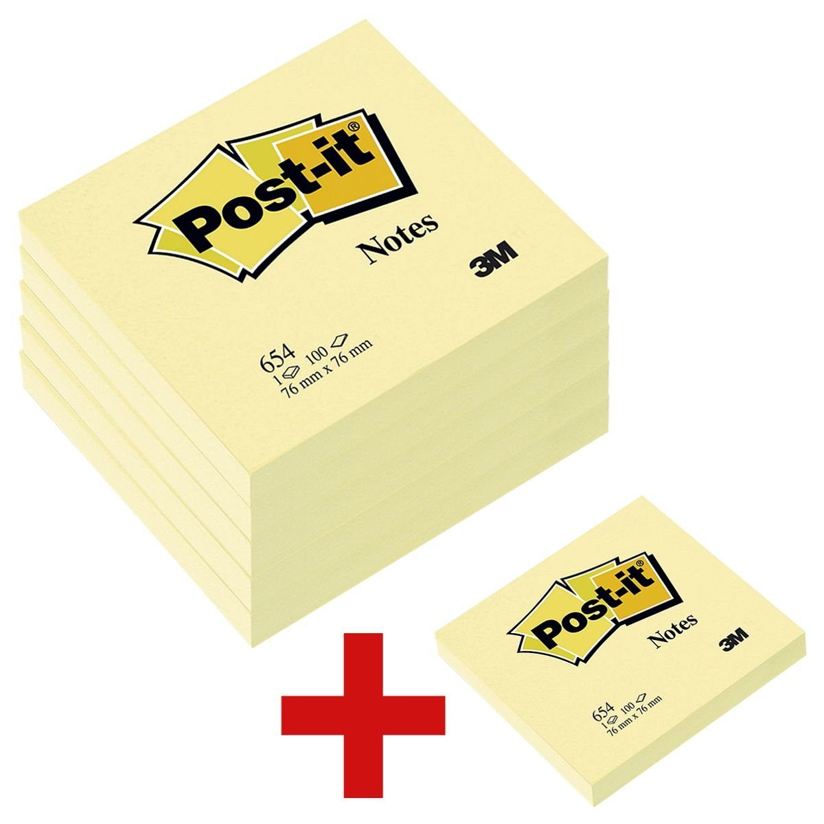 Post-it Notes Haftnotizblock 7,6 x 7,6 cm, 5 Stück + 1 gratis »Notes 654«
