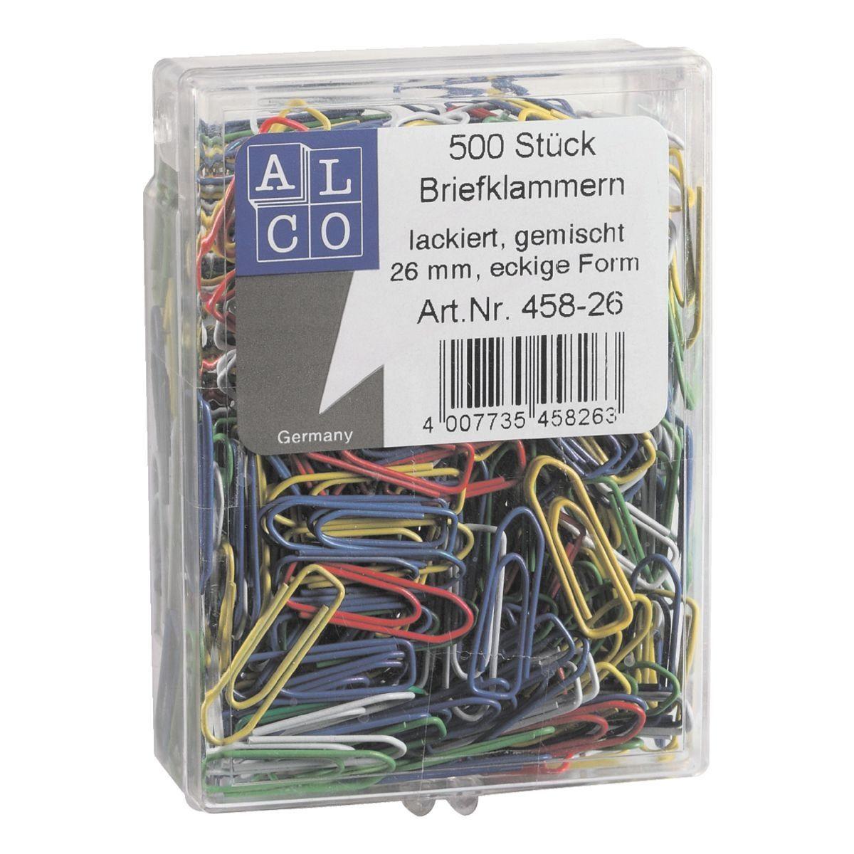 ALCO Büroklammern 26mm, mehrfarbig, 500 Stück