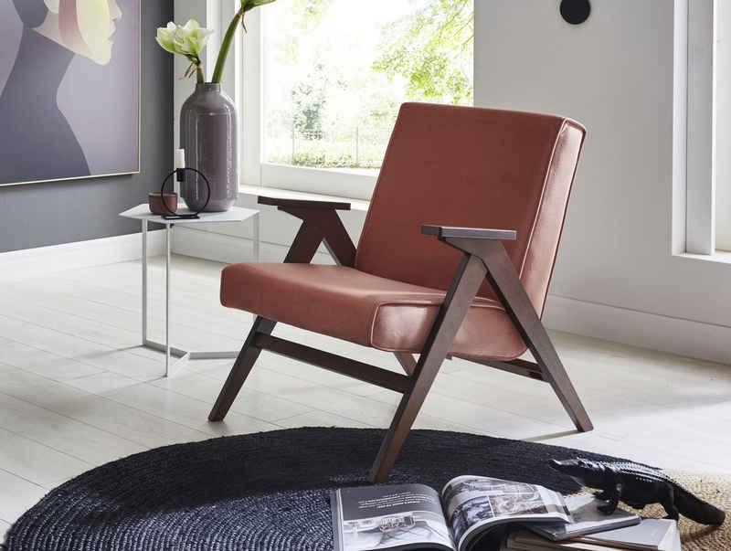 ATLANTIC home collection Loungesessel, Retro -Sessel in Samtvelours, Walnuß-Furnier