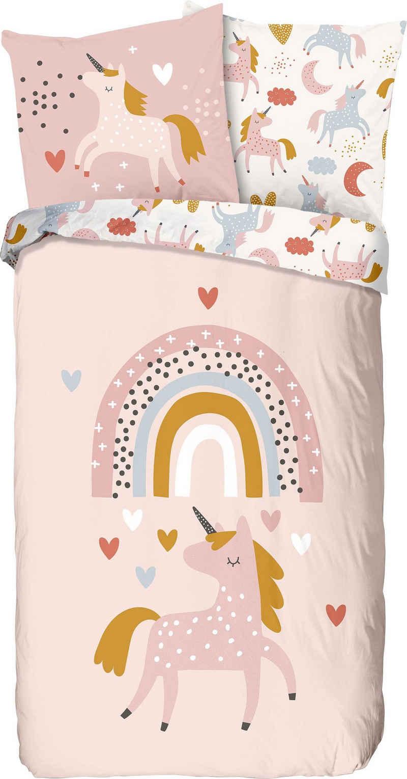 Kinderbettwäsche »Unilove«, good morning, bedruckt mit Einhorn