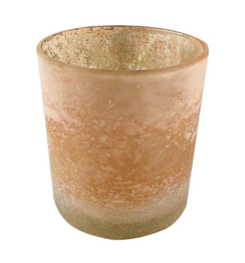 Parts4Living Teelichthalter »Glas Windlicht Teelichtglas gefrostet hellrosé«, gefrostetes Glas