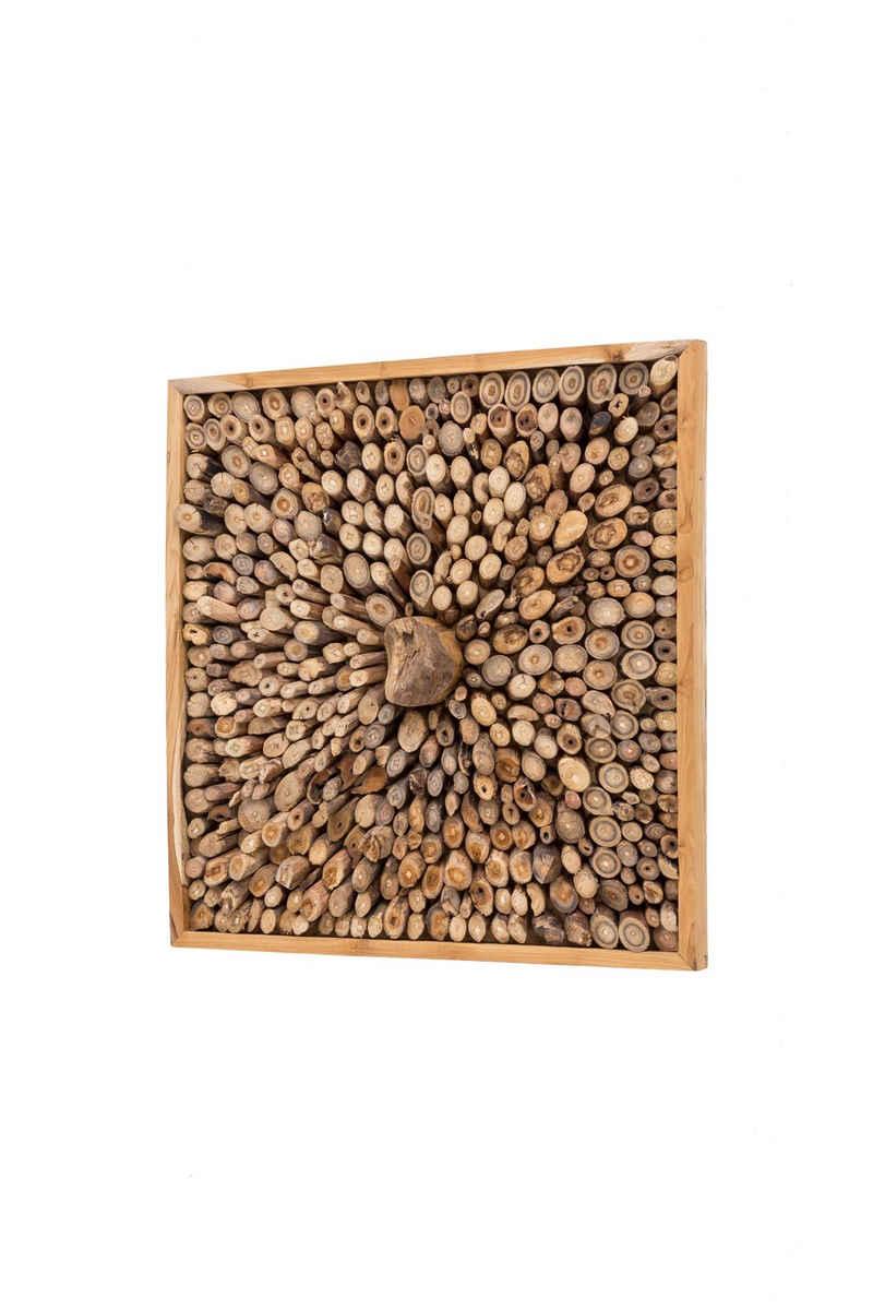 dynamic24 Wandbild, Teak Holz Bild 70x70cm Teakholz Relief Wanddeko Massivholz Handarbeit