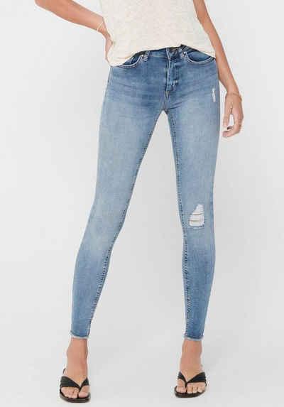 Only Ankle-Jeans »ONLBLUSH LIFE« mit Destroyed Effekt