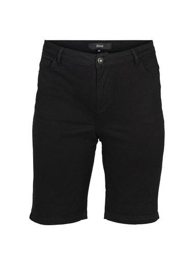 Zizzi Jeansshorts Große Größen Hochtaillierte Denim Shorts mit Stretch und Taschen