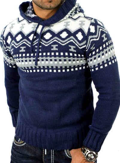 Reslad Strickpullover »Reslad Herren Grobstrick Pullover Norweger Winter« (1-tlg) Strickpullover Männer Norwegermuster mit Kapuze
