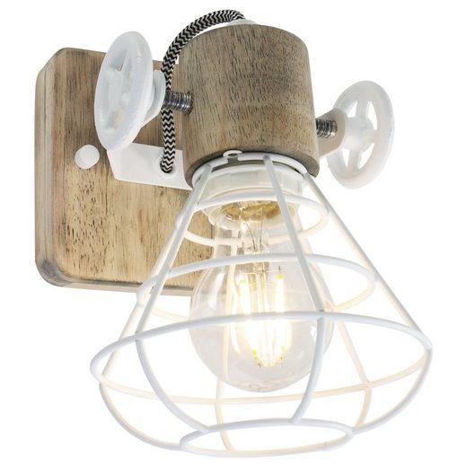 click-licht Deckenspot »Spot Guersey in Weiß und Braun E27 1-flammig«, Deckenstrahler, Deckenspot, Aufbaustrahler