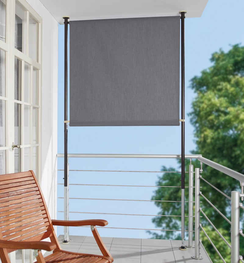 Angerer Freizeitmöbel Klemm-Senkrechtmarkise grau, BxH: 150x275 cm