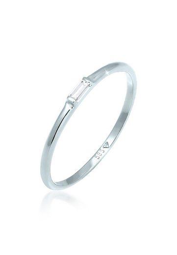 Elli Verlobungsring »Stabelring Topas Rechteck Verlobung 585 Weißgold«