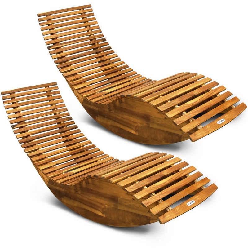 Deuba Gartenliege 2 Liegen FSC®-zertifiziertes Akazienholz Ergonomisch Wippfunktion Gartenliege Sonnenliege Relaxliege Saunaliege Schaukelliege