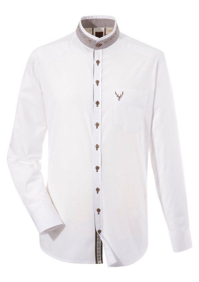 Herren OS-Trachten Trachtenhemd mit Stehkragen weiß | 04059755772171
