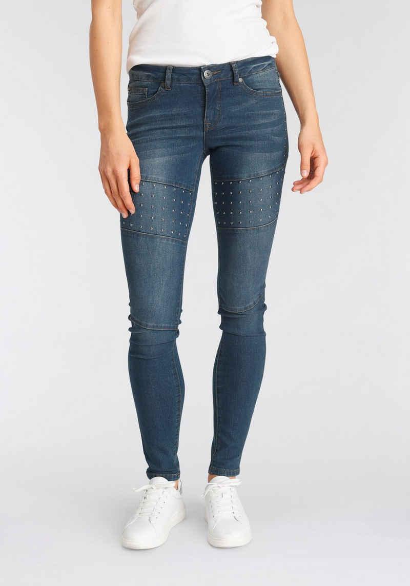 Arizona Skinny-fit-Jeans »im Biker-Look« Low Waist