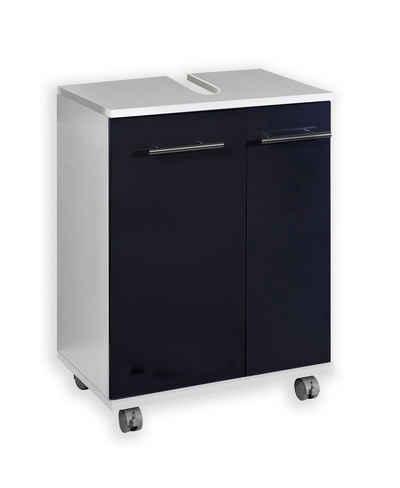 Schildmeyer Waschbeckenunterschrank »Kurt« Breite 50 cm, 2 Farben, Metallgriffe, hochglanz