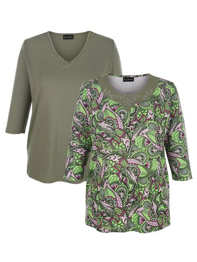 m. collection 3/4-Arm-Shirt (Packung, 2-tlg) 1x mit Blätterdruck, 1x unifarben