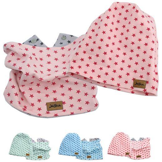 JOLLAA Beanie »Sterne« ROSA Babymütze Kindermütze Jersey Baumwolle Mitwachsend oder Loop Schal Halstuch Rosa Blau Mint MADE IN EUROPE