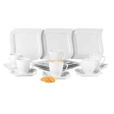 van Well Kaffeeservice »Kaffeeservice Opera 18-teilig eckig Porzellan für 6 Personen weiß geschwungene Kanten«