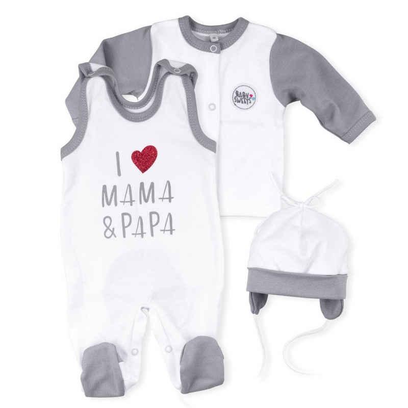 Baby Sweets Shirt, Strampler, Jäckchen, Mütze & Schühchen »3tlg Set Strampler + Shirt + Mütze« (3-tlg)