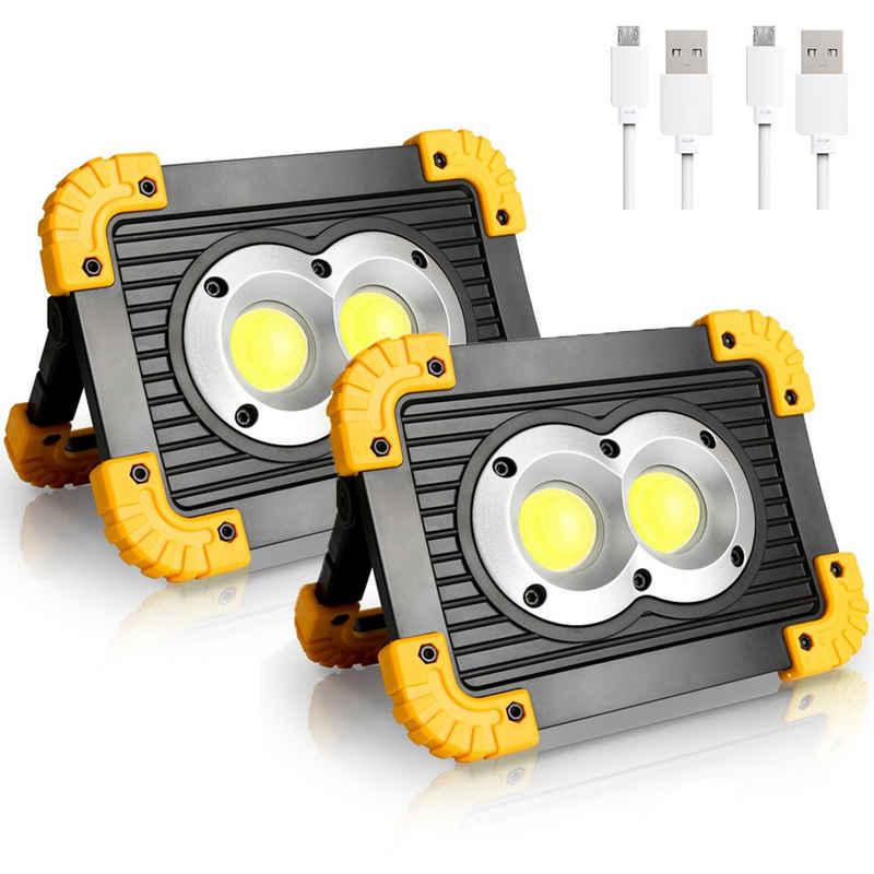 Einfeben Baustrahler »20W LED Baustrahler 2 Stück Akku Led Arbeitsleuchte LED Flutlicht 6500K«