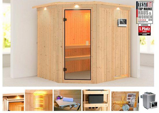 KONIFERA Sauna »Hilda«, 210x192x202 cm, 9 kW Ofen mit ext. Steuerung, mit Dachkranz