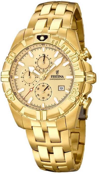 Festina Chronograph »UF20356/1 Festina Herren Uhr F20356/1 Stahl«, (Chronograph), Herren Armbanduhr rund, Edelstahlarmband gold