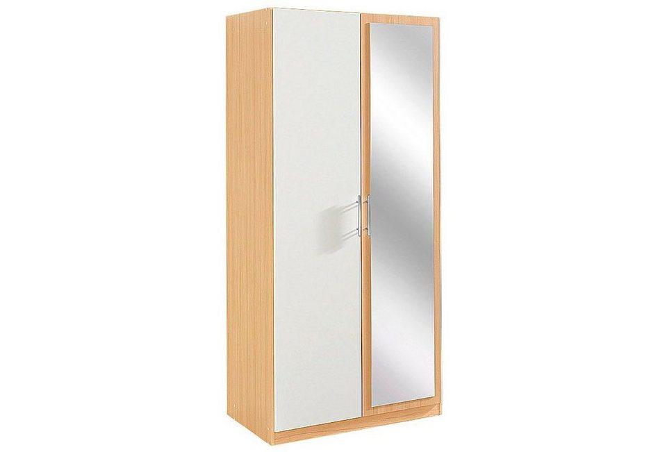 Wimex Kleiderschrank, 2-türig mit Spiegeltür in struktureichefarben hell/weiß