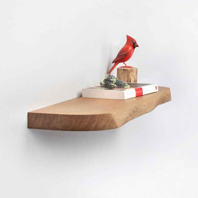 Rikmani Wandregal »Holz Eiche massiv - Handgefertigtes Regal mit geschwungener Kante Bücherregal Holzregal Wandboard NEMO«