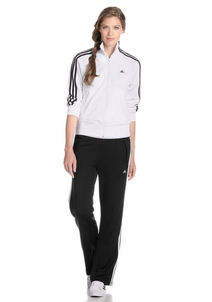 adidas Performance Trainingsanzug in Weiß-Schwarz