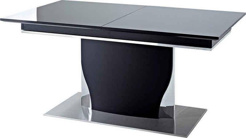 LEONARDO Esstisch »CURVE«, ausziehbar, inklusive 2 Einlegeplatten, Komplett-Lack, in 2 Breiten