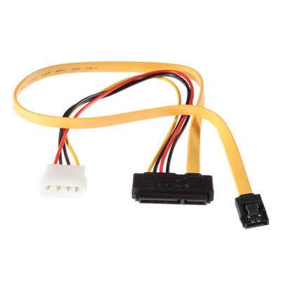 Poppstar Stromkabel, SATA, 1x Sata 3 HDD SSD Dualkabel (bis zu 6 GBit/s), Y-Kabel Stromadapter - Datenkabel (50cm) und Stromkabel (30cm), gelb