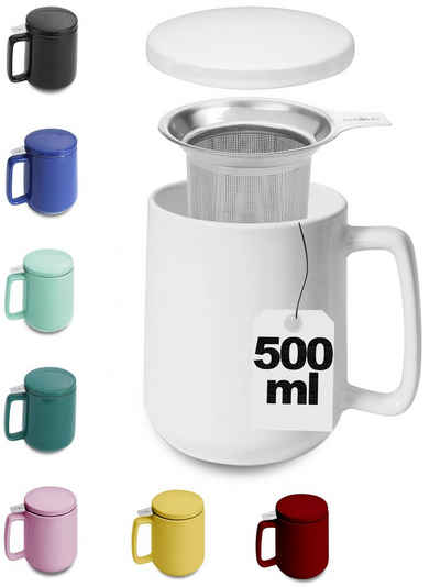 Cosumy Teeglas »Teetasse mit Sieb und Deckel Weiß 500ml«, Keramik, Hält Lange warm - 500ml XXL Groß - Spülmaschinenfest