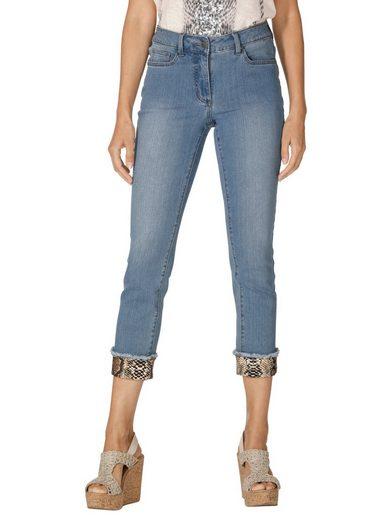 Amy Vermont Jeans mit bedrucktem Umschlag am Saum