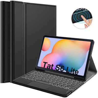 IVSO »Tastatur Hülle für Samsung Galaxy Tab S6 Lite (Deutsches QWERTZ),Ständer PU Schutzhülle mit Kabellose Beleuchtete Bluetooth Tastatur für Samsung Galaxy Tab S6 Lite 10,4 Zoll 2020« Tablet-Tastatur