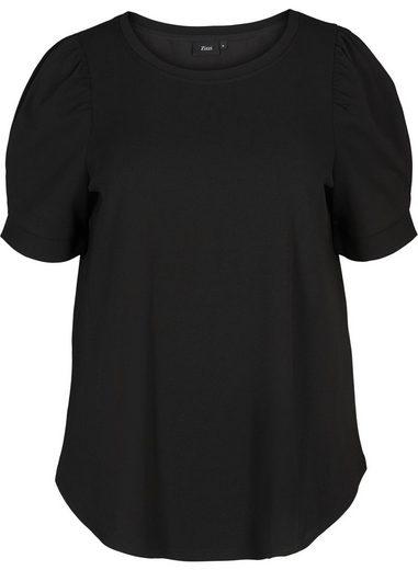 Zizzi Kurzarmbluse Große Größen Damen Bluse mit Rundhals und kurzen Puffärmeln