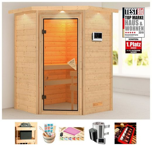 KONIFERA Sauna »Erica«, 174x160x202 cm, 3,6 kW Plug & Play Ofen mit ext. Steuerung