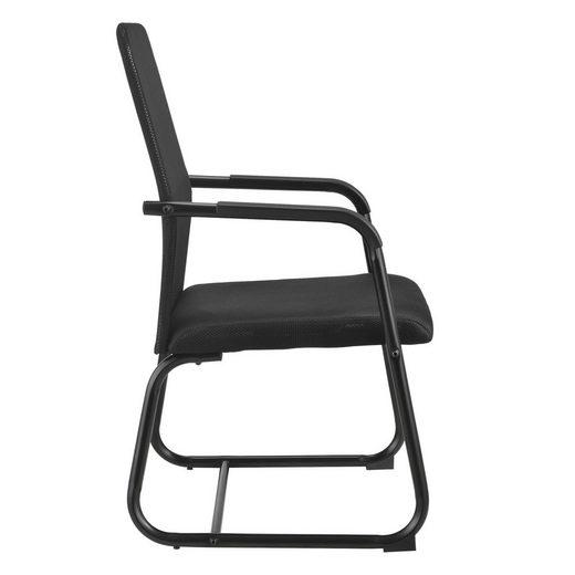 en.casa Besucherstuhl »Frenzy« Konferenzstuhl mit Metallgestell und Mesh-Textilbezug schwarz