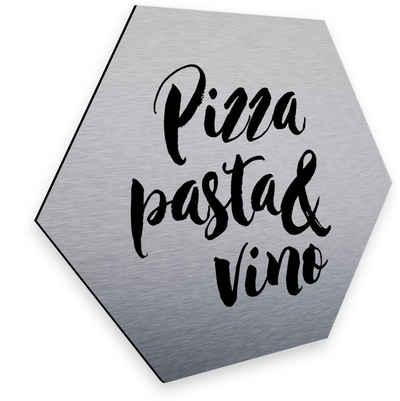Wall-Art Metallbild »Pizza Pasta Silber Deko Küche«, (1 Stück)