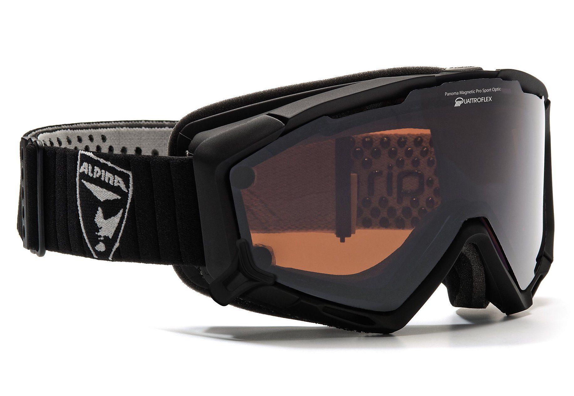 Skibrille, schwarz matt, Alpina, »Panoma Magnetic«, Made in Germany