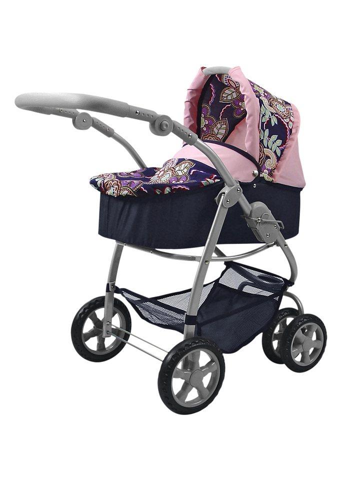 Kombi-Puppenwagen, knorr toys, blau-geblümt oder pink in blau-geblümt