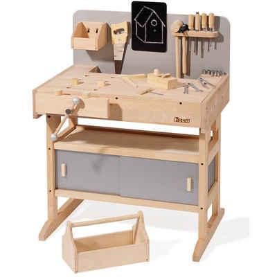 howa Werkbank, Kinderwerkbank aus Holz mit Werkzeugkiste und 32 tlg. Werkzeugset