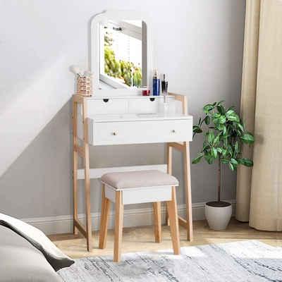 COSTWAY Schminktisch »Frisiertisch Set Frisierkommode Kosmetiktisch Make-up Tisch«, mit gepolstertem Hocker, mit Kiefernbeinen,mit 3 Schubladen, mit einstellbarem Spiegel